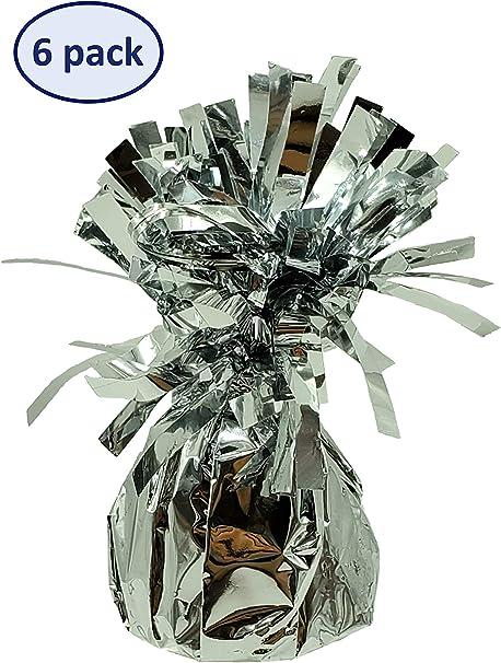 Paquete de 6 pesas metálicas plateadas para globos de helio para decoración de fiestas: Amazon.es: Juguetes y juegos