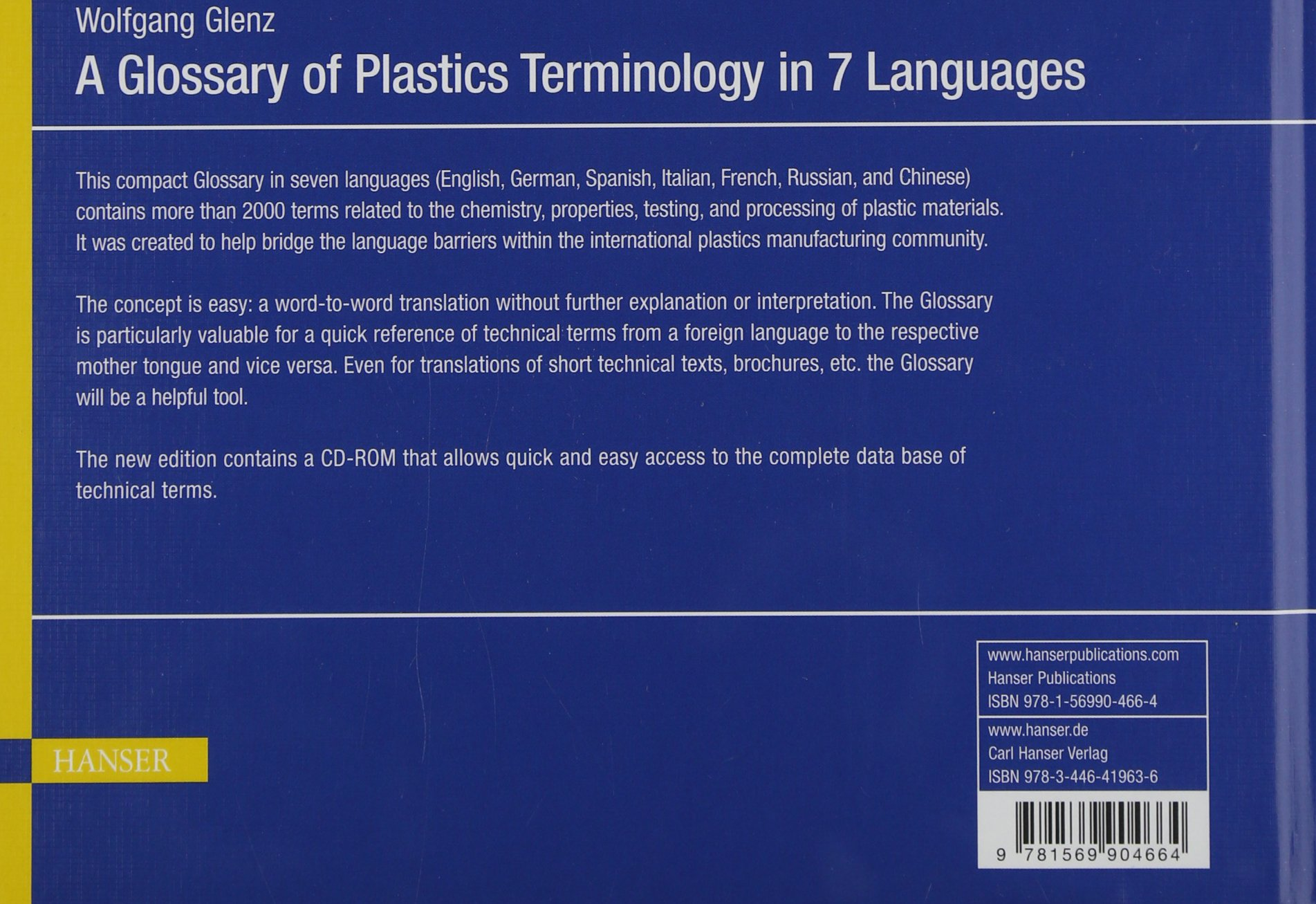 A Glossary of Plastics Terminology in 7 Languages [With CDROM