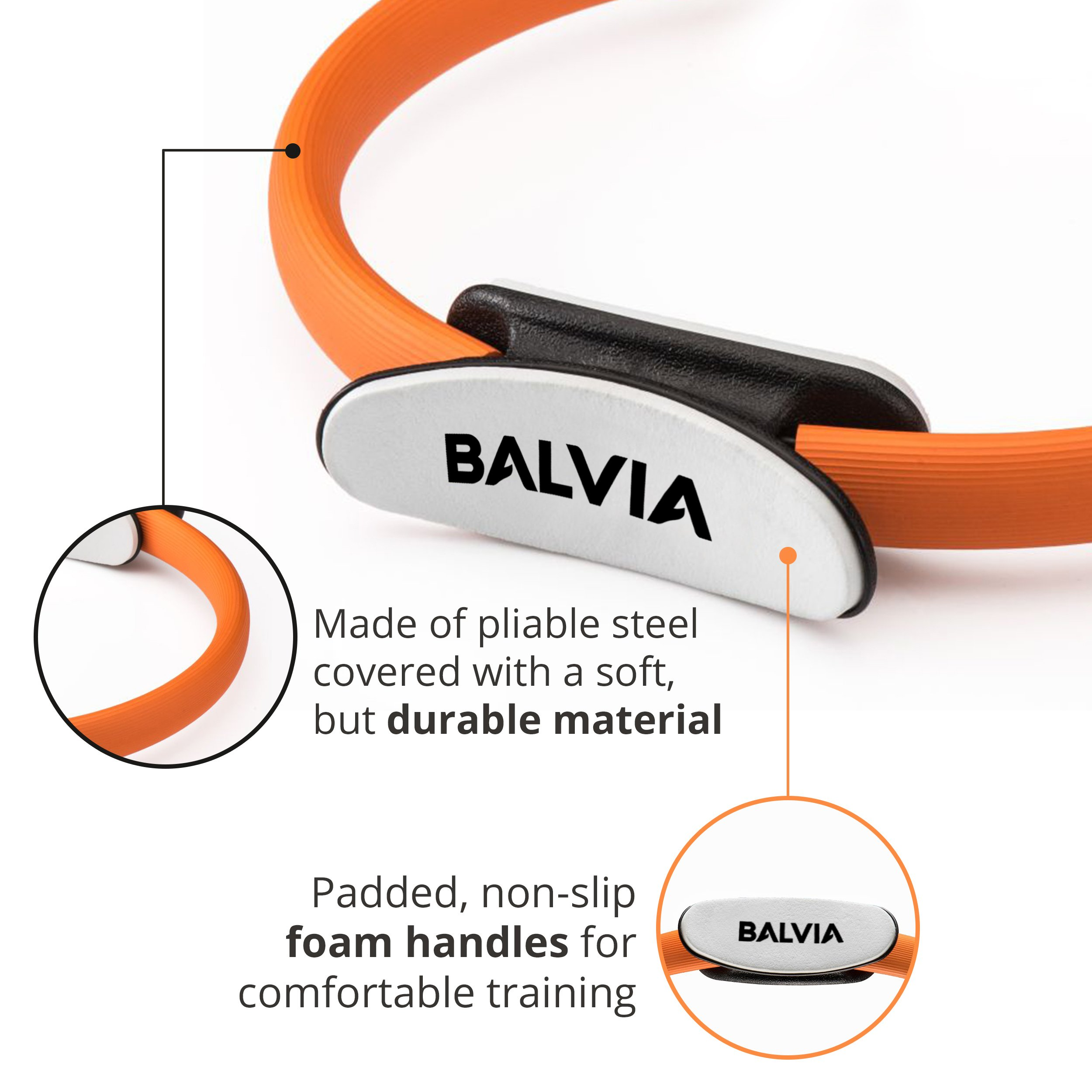 Balvia Fitness Pilates Yoga Ring Equipment Bundle with Non-Slip Grip Handles - Carrying Bag, Massage Ball and Exercise E-book Included - Premium Full Body Toning Fitness Circle by Balvia Fitness (Image #4)