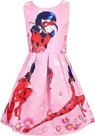 Vestidos para niñas Vestido de Mariquita milagrosa Vestido de Chaleco Vestido sin Mangas con Estampado de Flores y Mariposas Vestido de Verano 3-8Y Rosa Rosa: Amazon.es: Ropa y accesorios