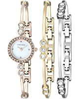 Anne Klein Women's AK/1690TRST Swarovski Crystal-Accented Rose Gold-Tone Bangle Watch and Bracelet Set