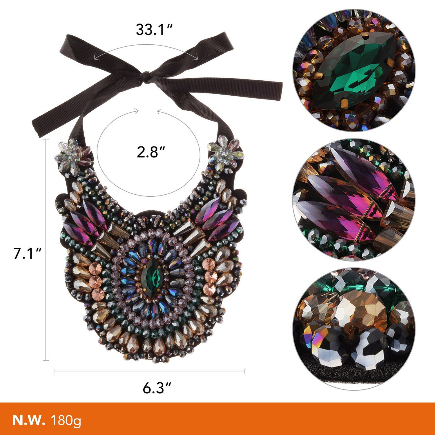 Holylove 3 Designs Statement Necklace Costume Jewelry Fashion Large Jewelry 1 PC with Gift Box
