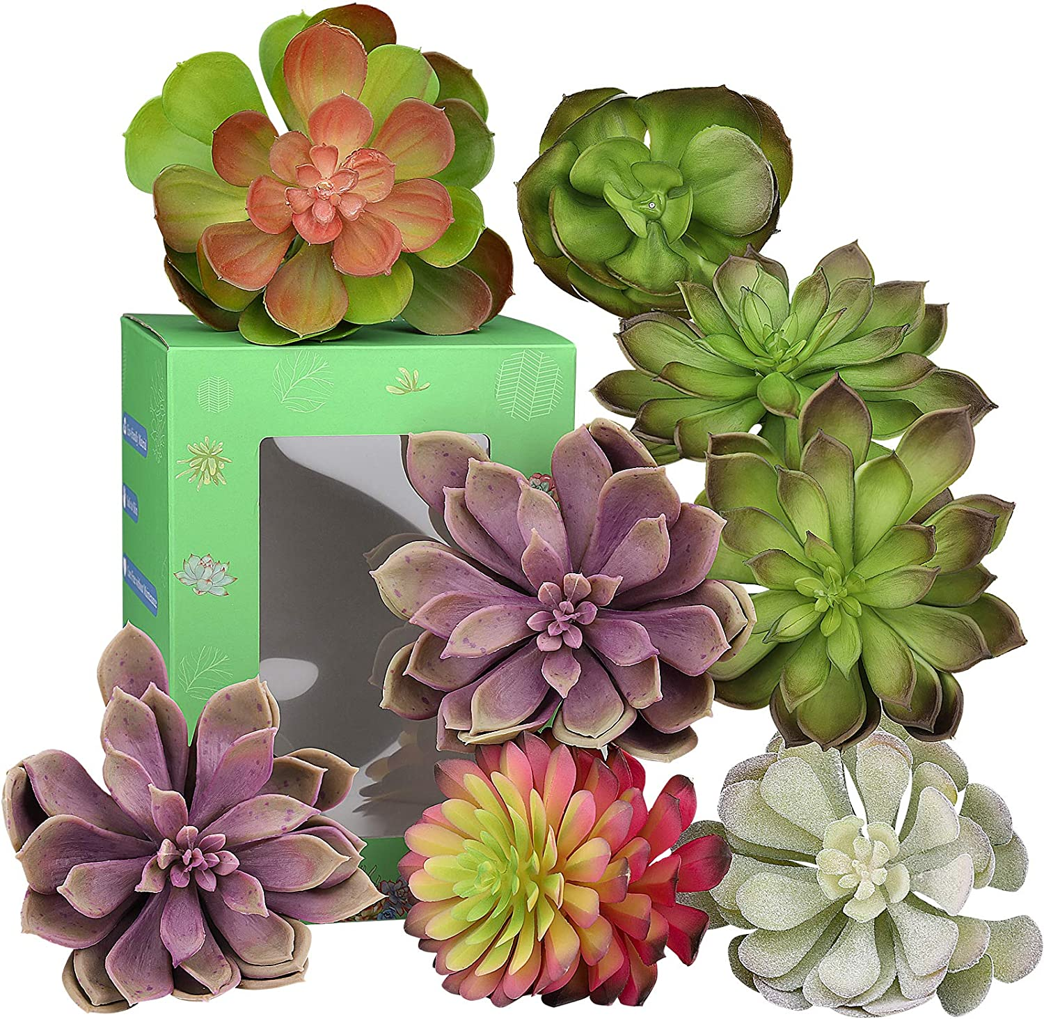 Hopewood Artificial Succulent Plant Decor, Fake Succulent House Plant Faux Modern Live Indoor, Used for The Shelf, Office Desk, Farmhouse Wall Decor (8Pack)
