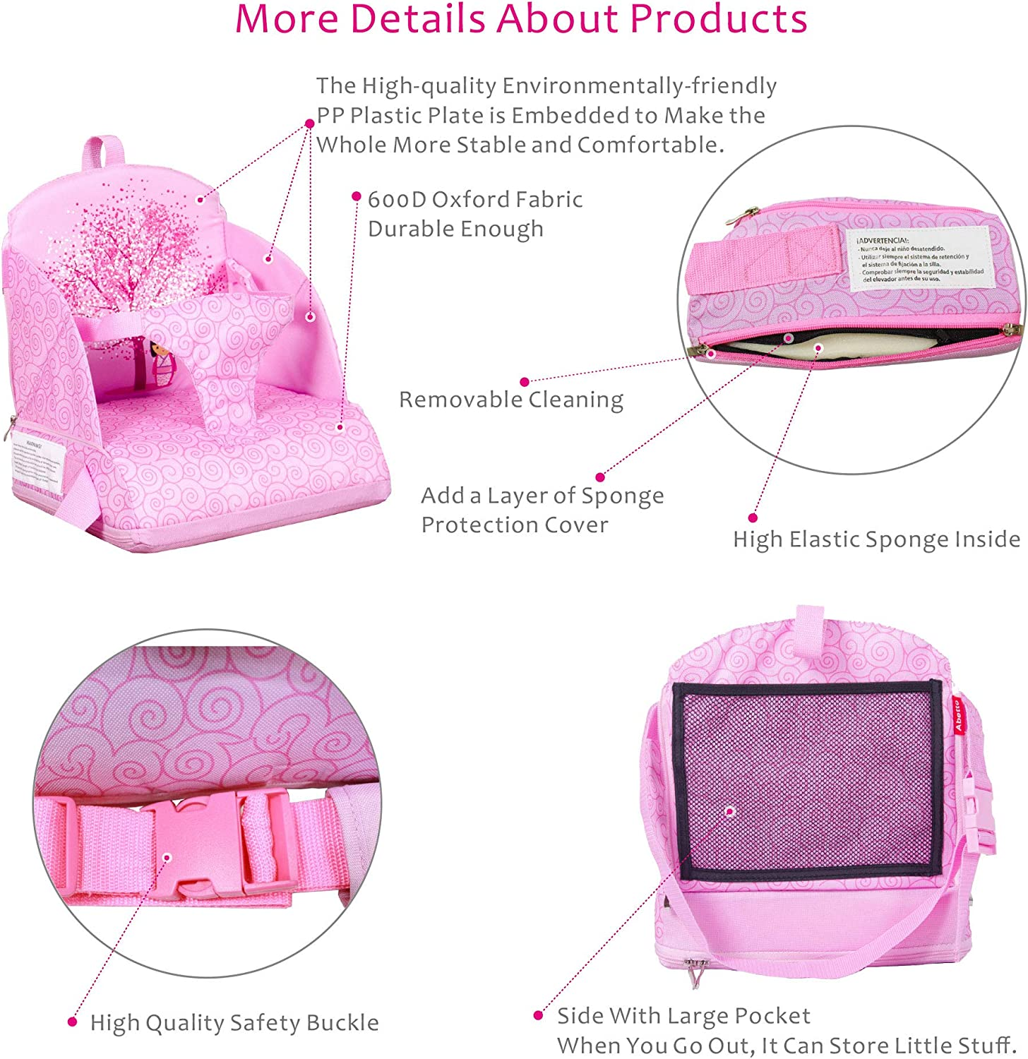 Abetto Baby Toddler Kids Infant Portable Booster Seat for Eating Foldable//Washable// Adjustable//Travel Dining Chair Pink