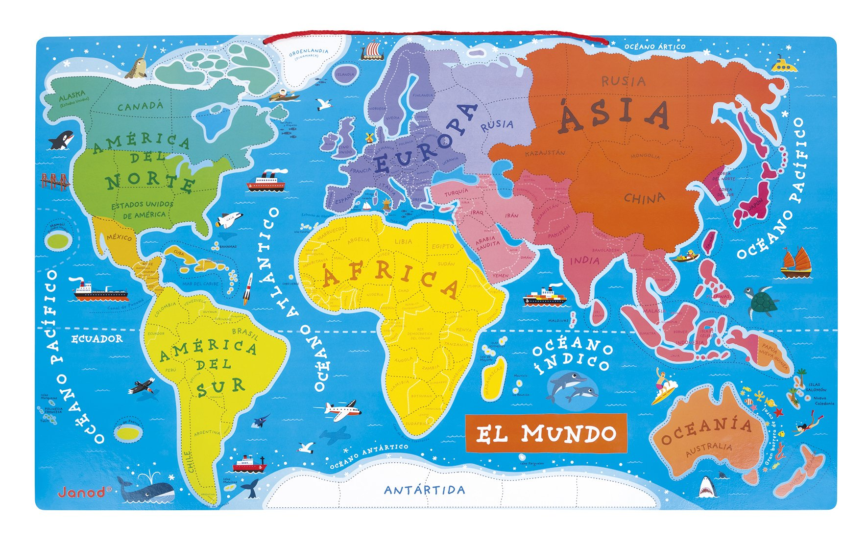 Janod Spanish Version Magnetic World Map by Janod (Image #3)