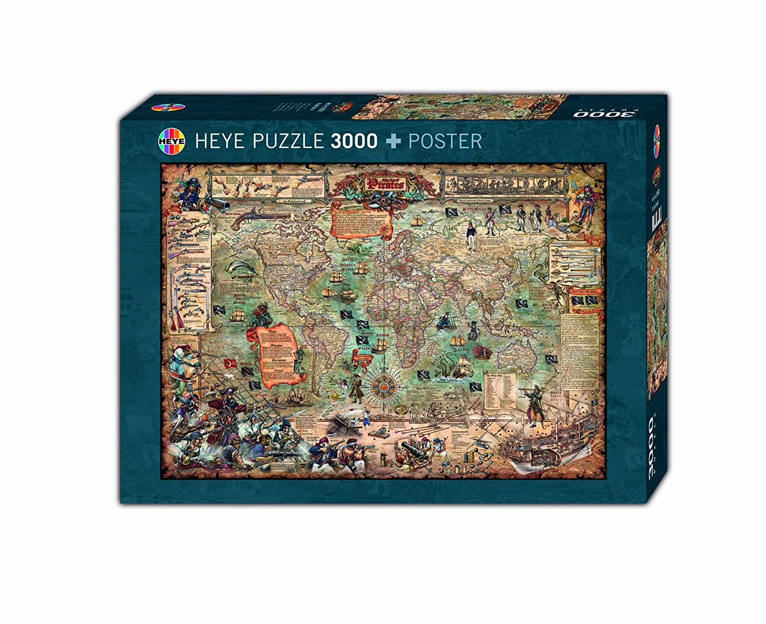 Amazon heye pirate world 3000 piece map jigsaw puzzle toys games gumiabroncs