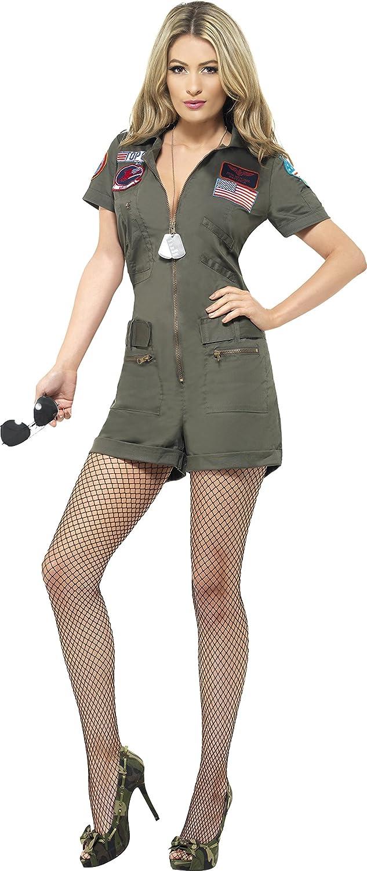 amazon com ladies top gun aviator costume film outfit green clothing