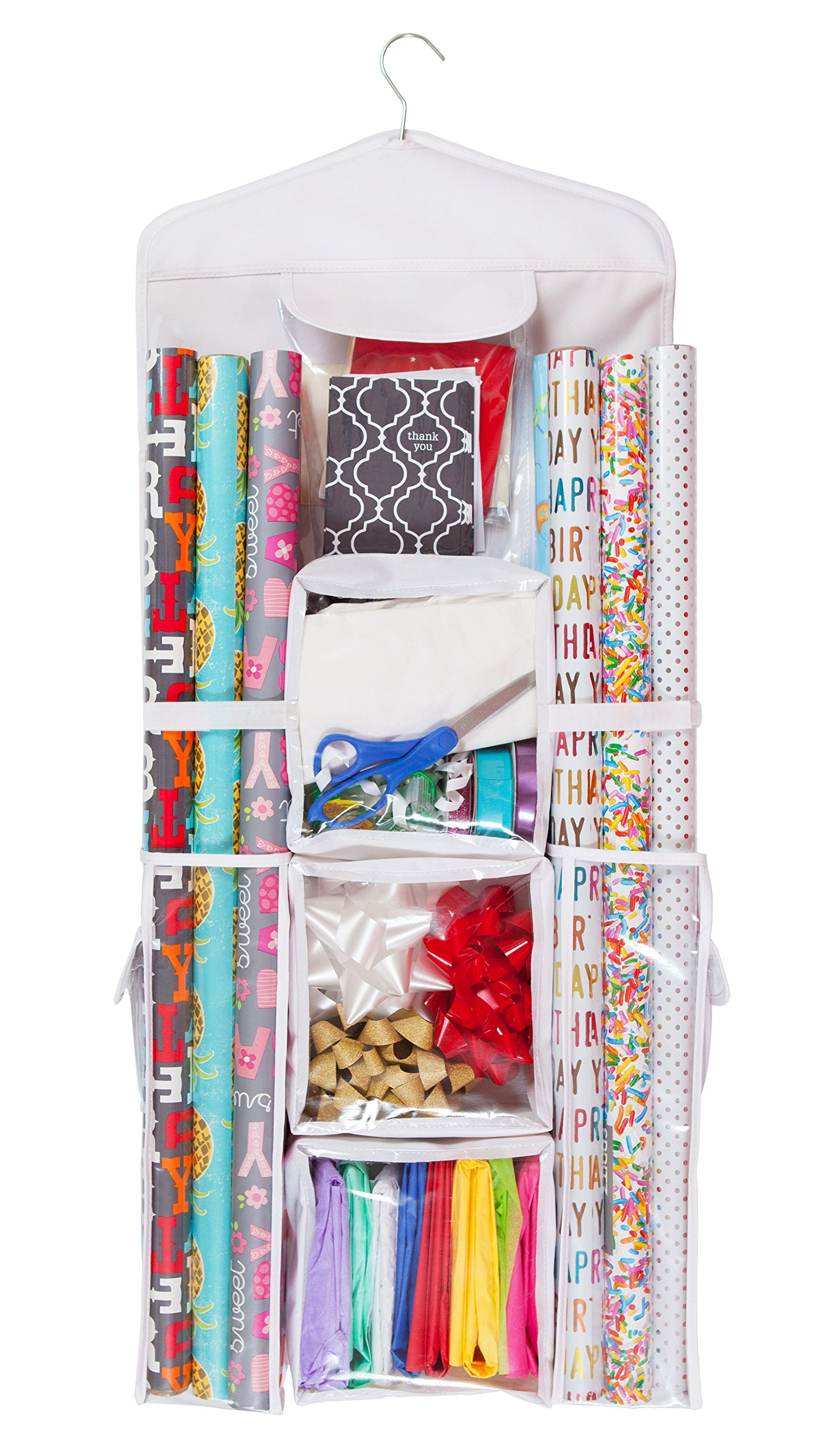 Double Sided Hanging Gift Wrap & Bag Organizer Storage by Organizer Designs