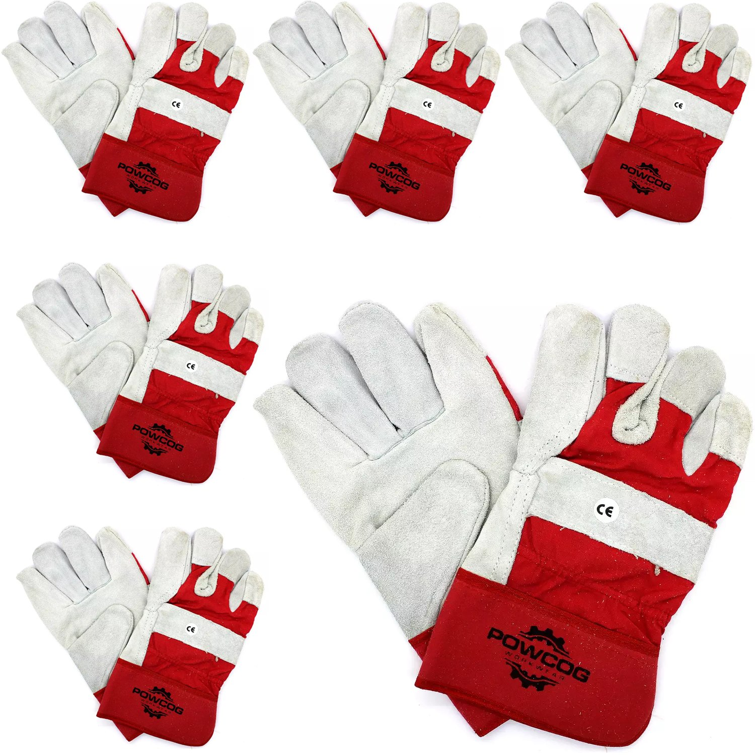 6 Pairs of Leather Rigger Safety Work Gloves | Heavy Duty | Red/Grey by POWCOG