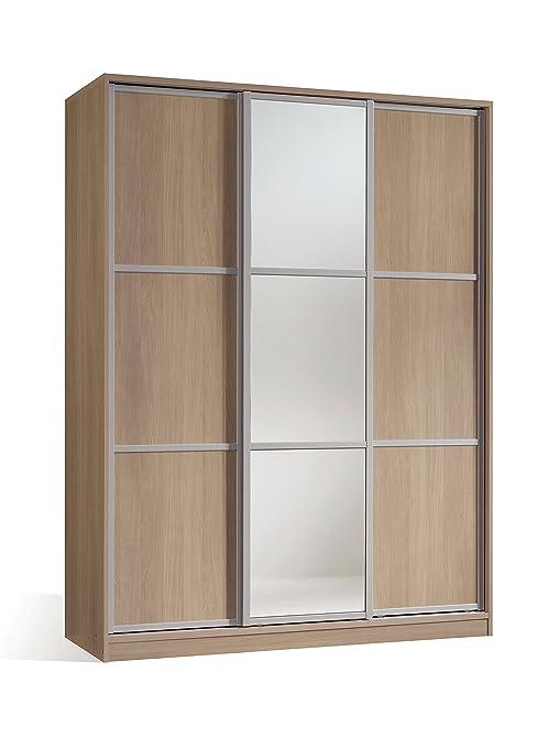 Armario ropero para dormitorio o habitacion en color cambrian y puerta de espejo, con 3 puertas correderas, barra para colgar y estantes regulables ...