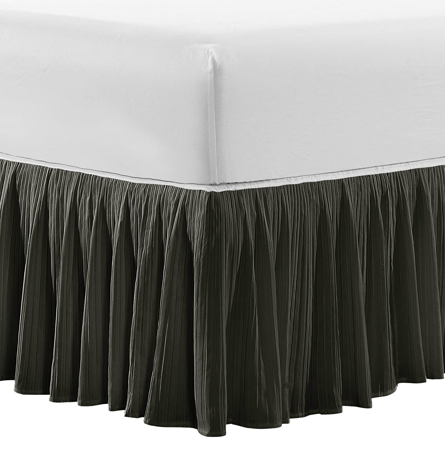 Home Soft Things Serenta Microfiber Pleated Bedskirt 18' Drop in Length, Twin, White BNF Home