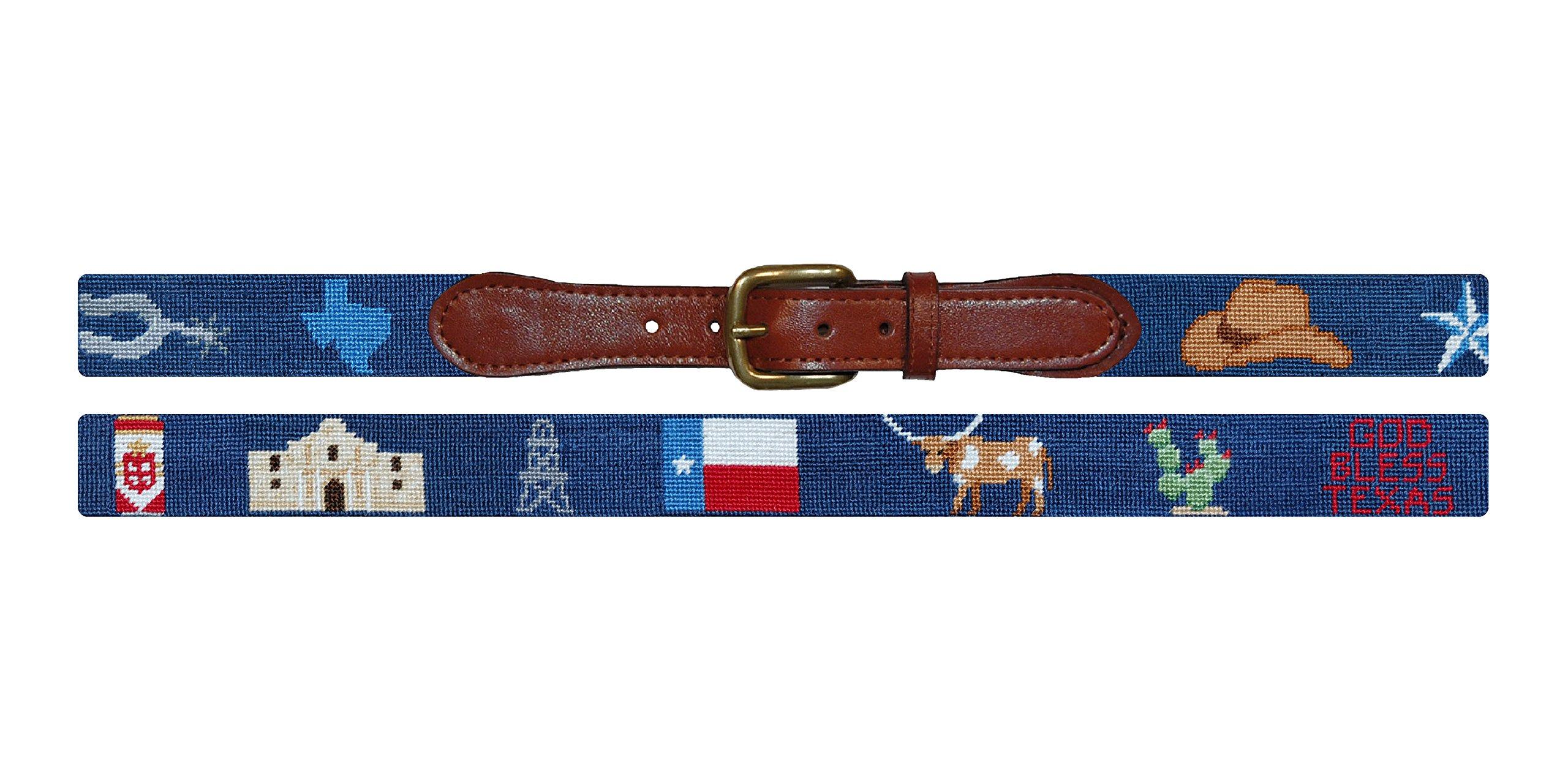 Smathers & Branson Texas Life Needlepoint Belt, Size 42 - Navy (B-258-42)