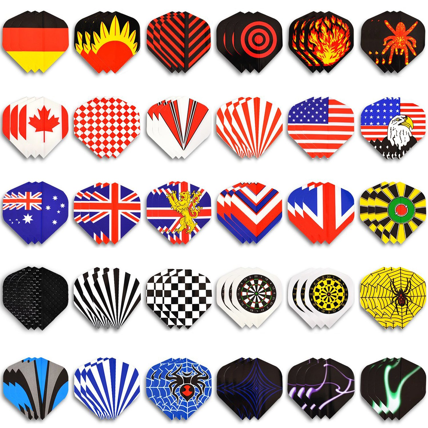 WINMAX Dart Flights 30 Sets (90 Pcs) Standard Shape National Flag Durable PET Flights for Steel Tip Darts, Perfect Accessories Equipment Supplies for Dart Games