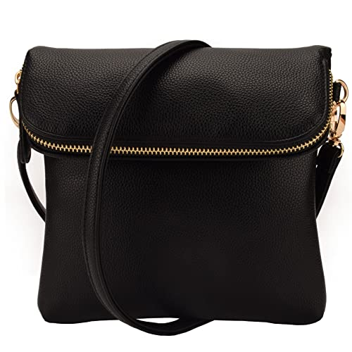 JIARUO Small Fold Flap Women PU Leather Crossbody bag Purses Handbag (Black) ed8a162f7ae0e