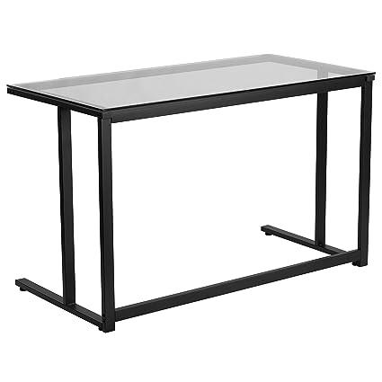 Amazoncom Flash Furniture Glass Desk With Black Pedestal Frame