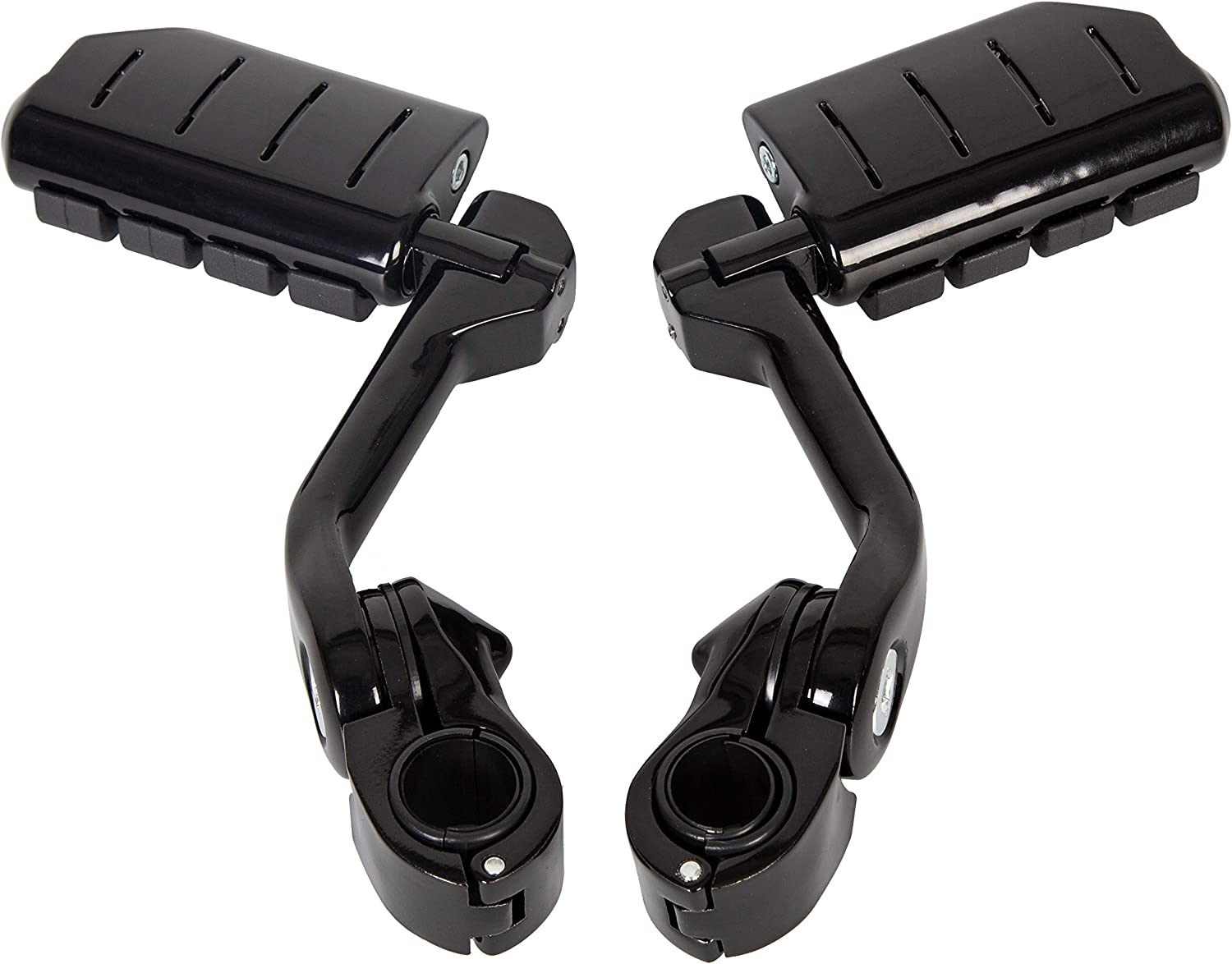 1 1//4 Longhorn Highway Pegs Footpegs Pedal With Quick Clamps Fits Motorcycle Crash Bar Engine Guards Mount Tubing Compatible With Harley Davidson Road King Street Glide Honda Suzuki Kawasaski 1 Pair