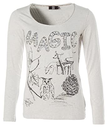 ade551d3cbb2ae JETTE Damen Langarm Shirt T-Shirt Rundhals MAGIC Glitzer  Amazon.de ...