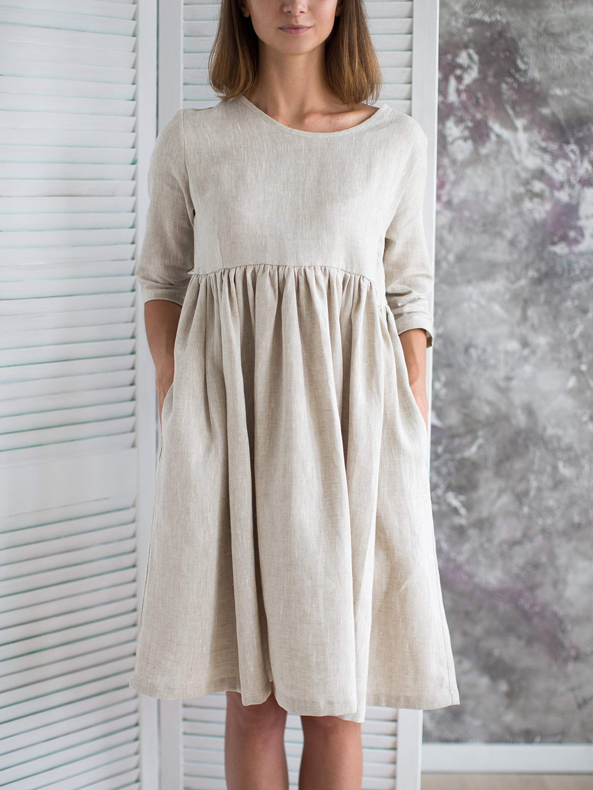 Linen Dress/Flax Dress/Casual Linen Dress/Linen Clothing/Long Sleeve Dress/Linen Kaftan Dress/Clothing linen