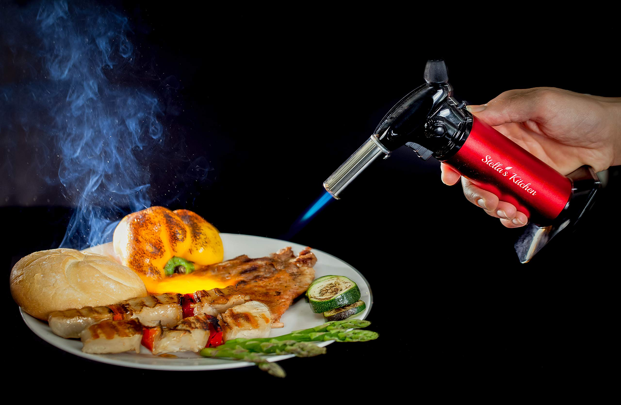 Culinary Torch for Creme Brulee 5 Pack-Culinary Torch-Refillable Butane Torch-Blow Torch-Cooking Torch - Butane Food Torch- Torch for Dabs with Fuel Gauge&Adjustable Flame-Chefs Torch- Butane Torch by Stella's Kitchen (Image #7)