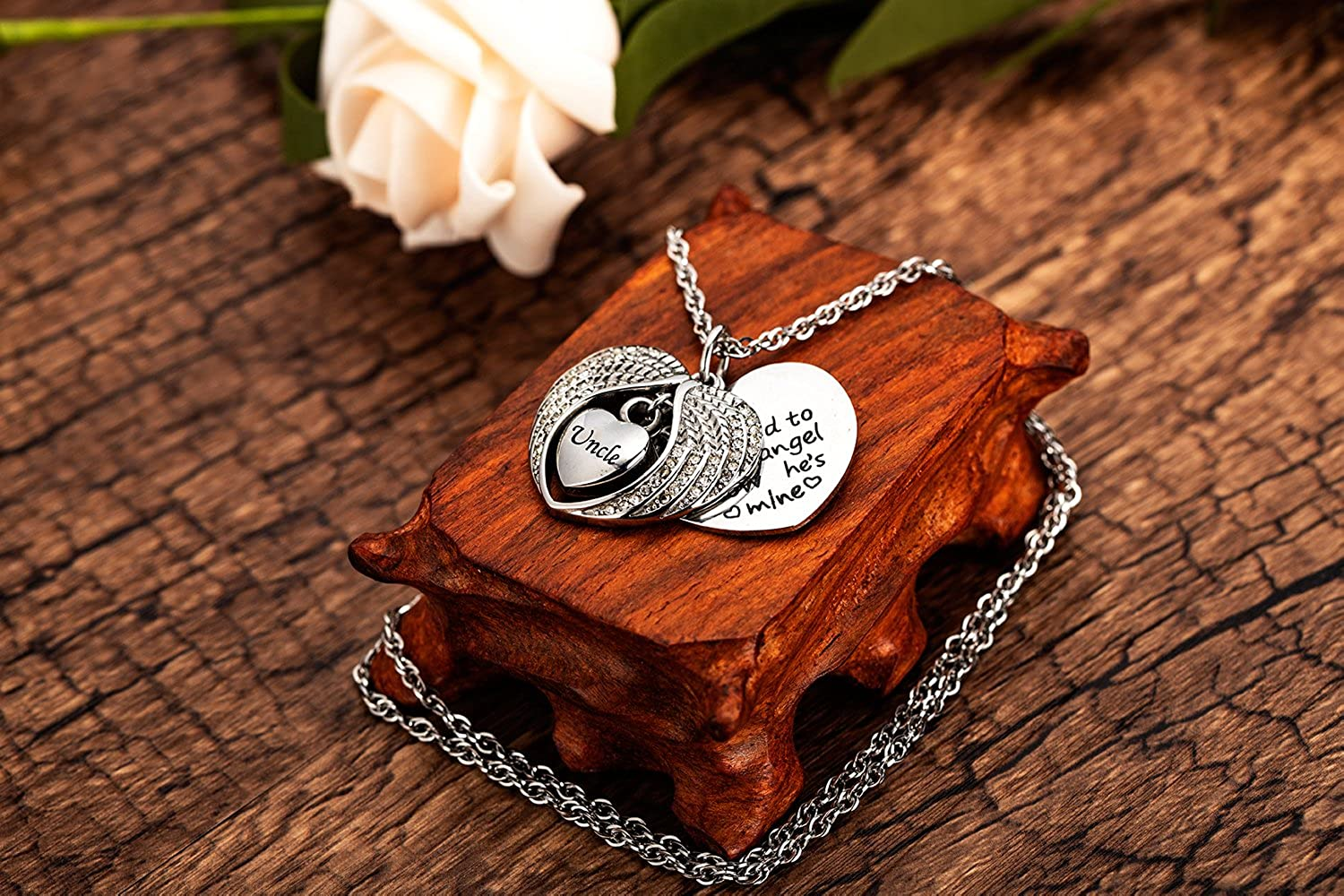 IMEIM Angel Wings Cremation Urn Memorial Necklace for Ashes Stainless Steel Pendant Unique Small Jewelry Special Art Store Memories Keep Alive Forever Spiritual Eternity Grandma