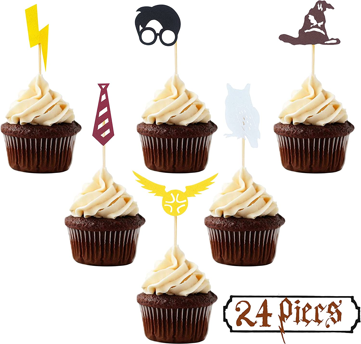 Wizard Cupcake Toppers (Set of 24) Wizard School Birthday Party Decorations Supplies Party Decor