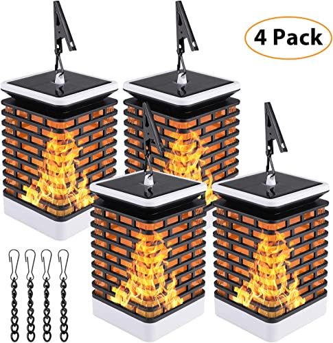 Sanniu 4 Packs Solar Lantern Lights Dancing Flame IP65 Waterproof 78 LED Outdoor Tabletop Lanterns Solar Powered Camping Lights Hook Tree Walkway Landscape