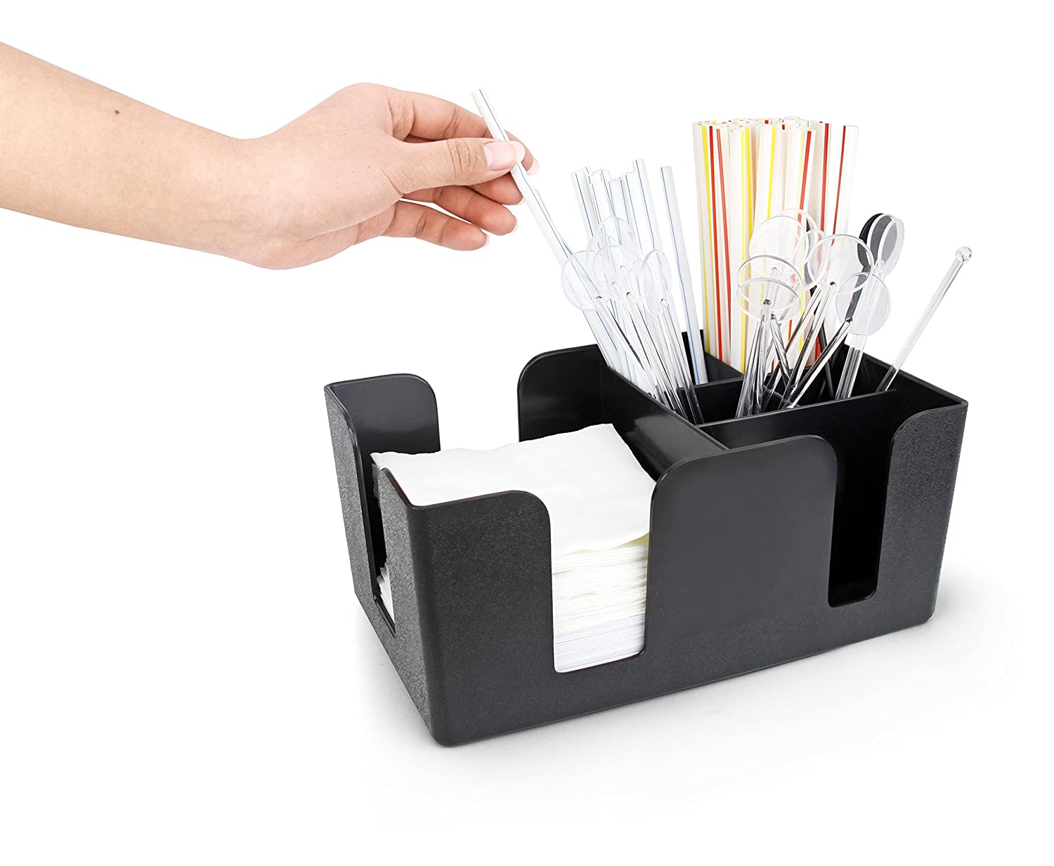 New Star 48001 Plastic Bar Caddy Organizer with 6 Compartments, Black