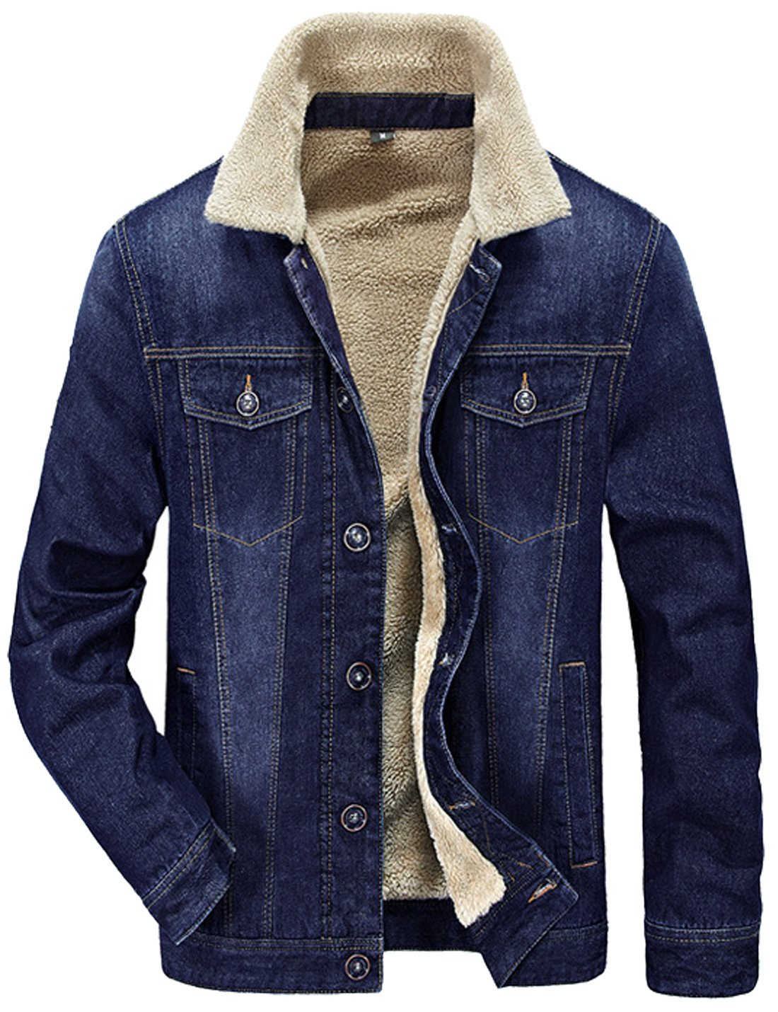 Tanming Men's Winter Casual Lined With Cashmere Warm Denim Jacket (Large, Blue)