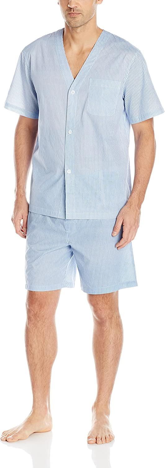 Fruit of the Loom Men's Broadcloth Short Sleeve Pajama Set: Clothing