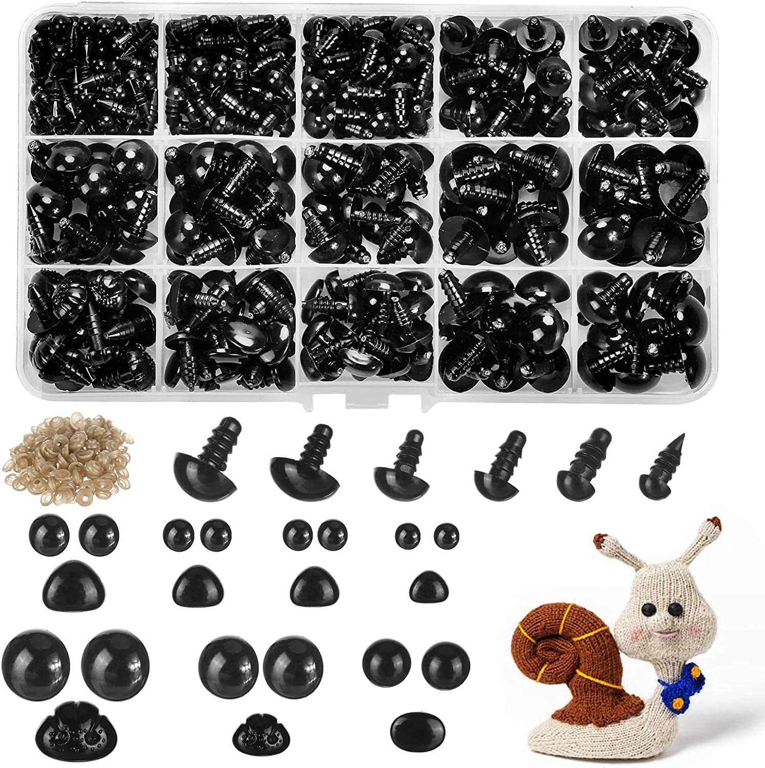 680pcs Plastic Safety Eyes and Noses with Washers Craft Doll Eyes Black Safty Eyes for Amigurumi Puppet Plush Animal and Teddy Bear