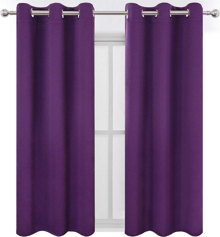 LEMOMO Purple Blackout Curtains/42 x 63 Inch/Set of Two Panels Grommet Bedroom Curtains