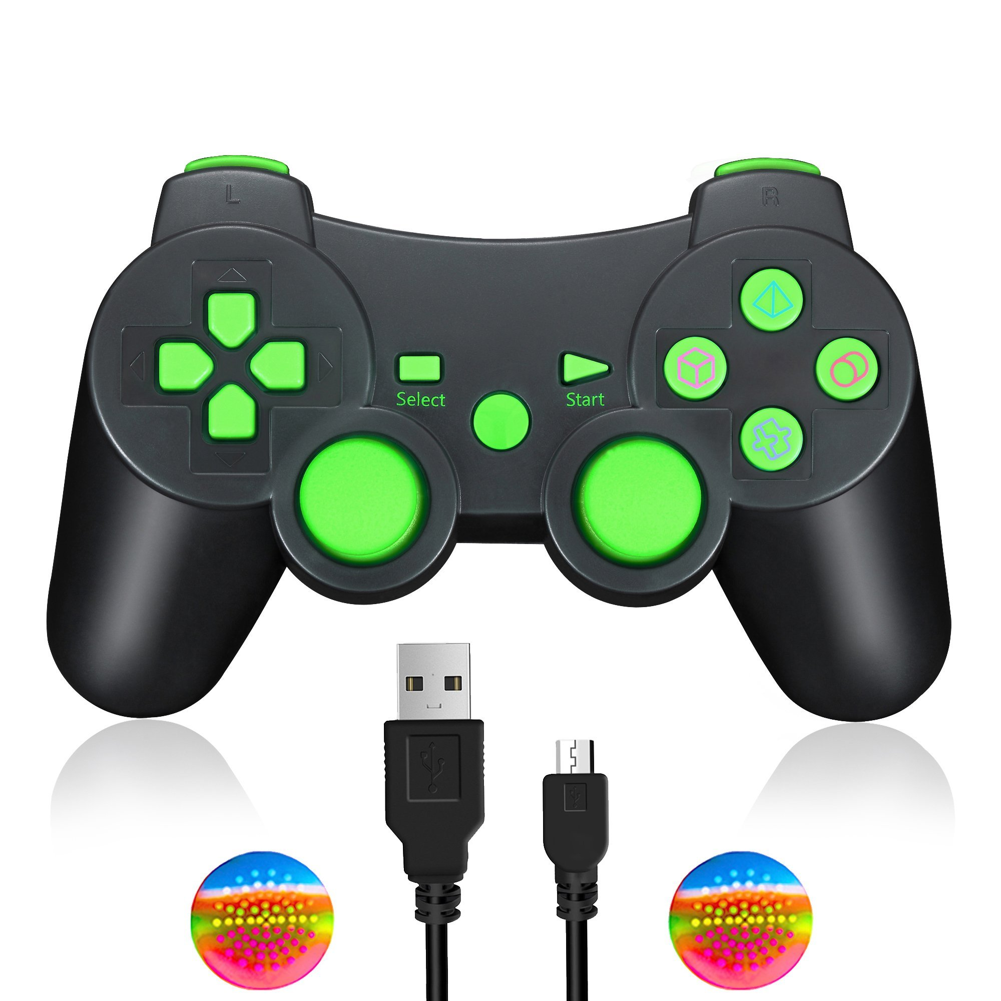 TPFOON Wireless Controller Gamepad with Charging Cable Compatible with Sony PS3, Bluetooth Dualshock Joystick Sixaxis Remote Work with Sony Playstation 3 PS3