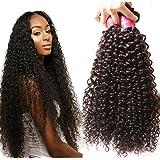 Sunber Hair Brazilian Virgin Hair Weaves Brazilian Curly Virgin Hair 3 Bundle, 100% Human Hair Extension (8 10 12inch)