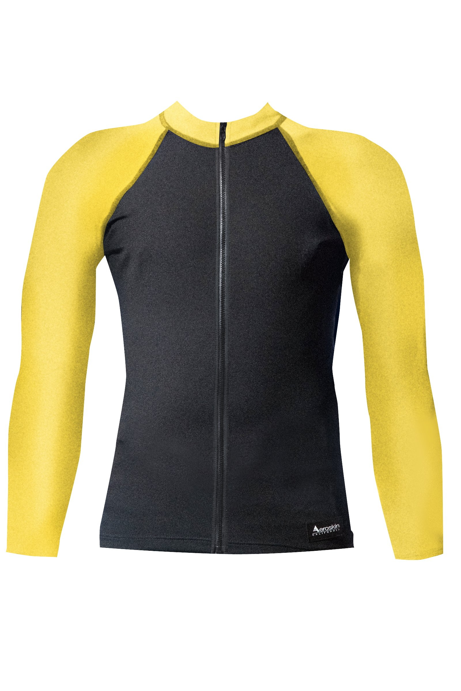 Aeroskin Raglan Long Sleeve Shirt with Color Accents, Fuzzy Collar and Front Zip (Black/Yellow, X-Small)