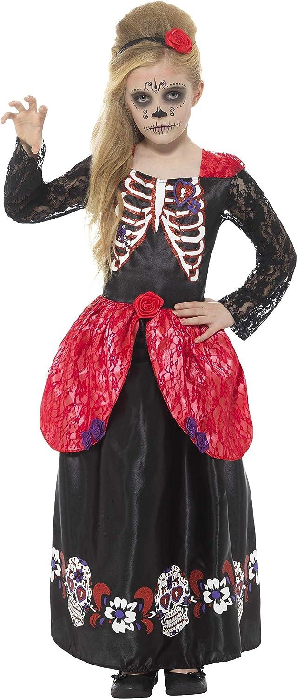 Smiffy'S 45188S Disfraz De Chica Deluxe Del Día De Muertos Con Vestido Y Diadema, Negro, S - Edad 4-6 Años