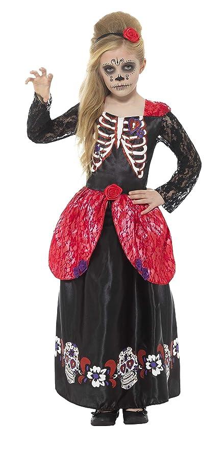 SmiffyS 45188S Disfraz De Chica Deluxe Del Día De Muertos Con Vestido Y Diadema, Negro, S - Edad 4-6 Años