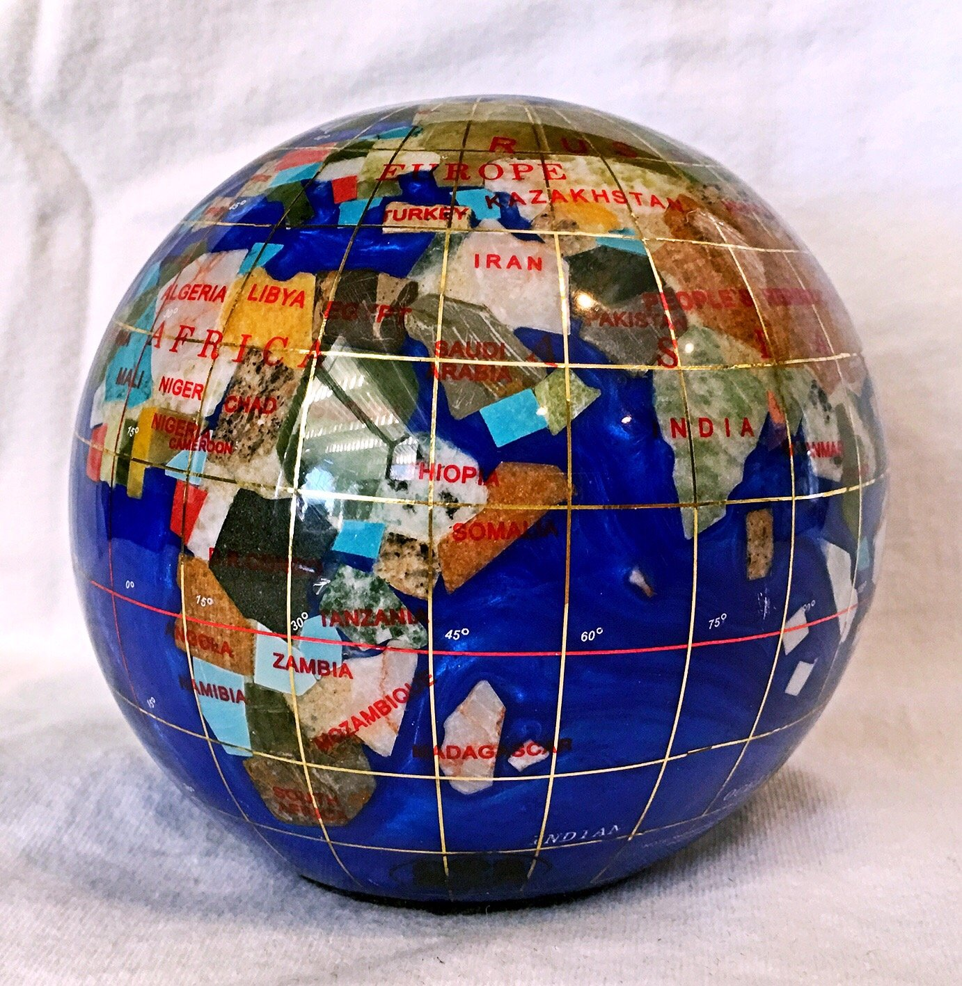 Unique Art 4.3'' (110 mm) Diameter Gemstone Globe Paperweight Paper weight (Blue Pearl Swirl) by Unique Art Since 1996