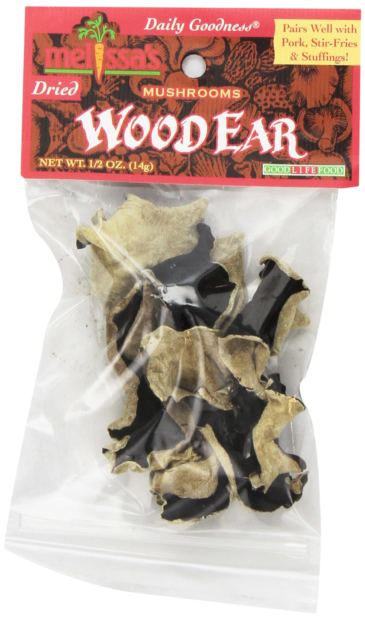 Melissa's Dried Woodear Mushrooms 0.5-Ounce Bags (Pack of 12), Dried Wild Mushrooms, Rehydrate and Cook as Fresh or Grind for Crusting Fish or Veal, Great for Cooking and Making Stocks