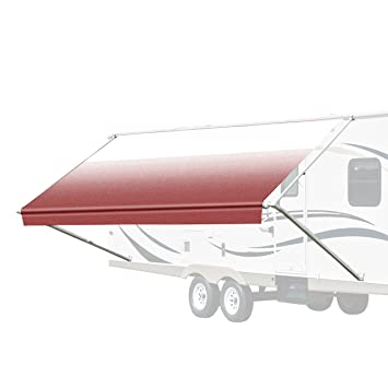 ALEKO 8X8 Retractable RV Or Home Patio Canopy Awning, Burgundy Fade Color