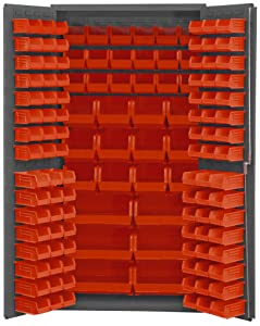 "Durham 3501-BDLP-132-1795 Lockable Cabinet with 132 Red Hook-On Bins, Flush Door Style, 36"" Wide, 14 Gauge, Gray"