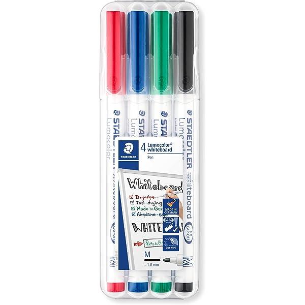 STAEDTLER LUMOCOLOUR COMPACT WHITEBOARD MARKER PENS desktop box of 4 colours