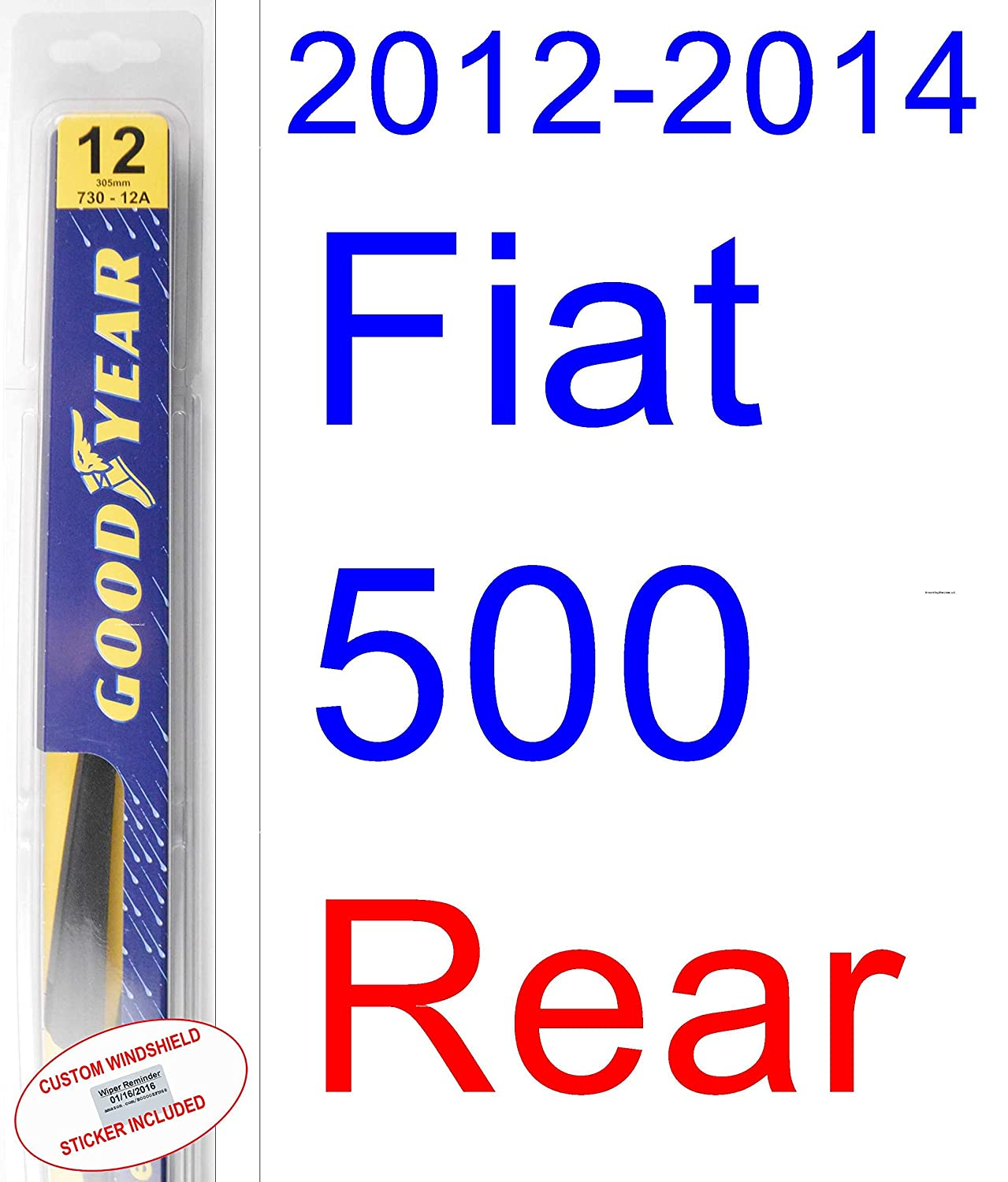 Amazon.com: 2012-2014 Fiat 500 Replacement Wiper Blade Set/Kit (Set of 2 Blades) (Goodyear Wiper Blades-Premium) (2013): Automotive