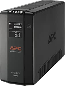 APC UPS BX1000M, 1000VA UPS Battery Backup & Surge Protector, Backup Battery Uninterruptible Power Supply with AVR and LCD Display, APC Back-UPS Pro Series