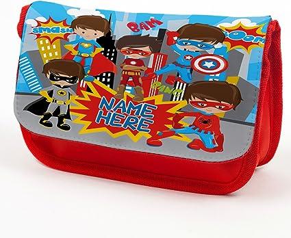 Estuche personalizado con diseño de Batman Spiderman y superhéroe, ideal como regalo de vuelta a la escuela, color rojo EC048: Amazon.es: Oficina y papelería