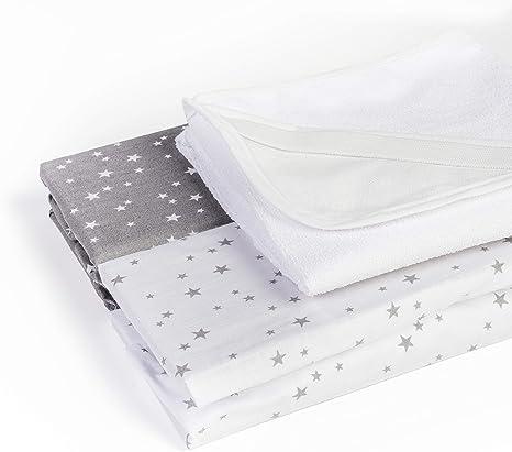 Juego de 2 sábanas ajustables + 1 colchón 100% algodón oeko-tex ...