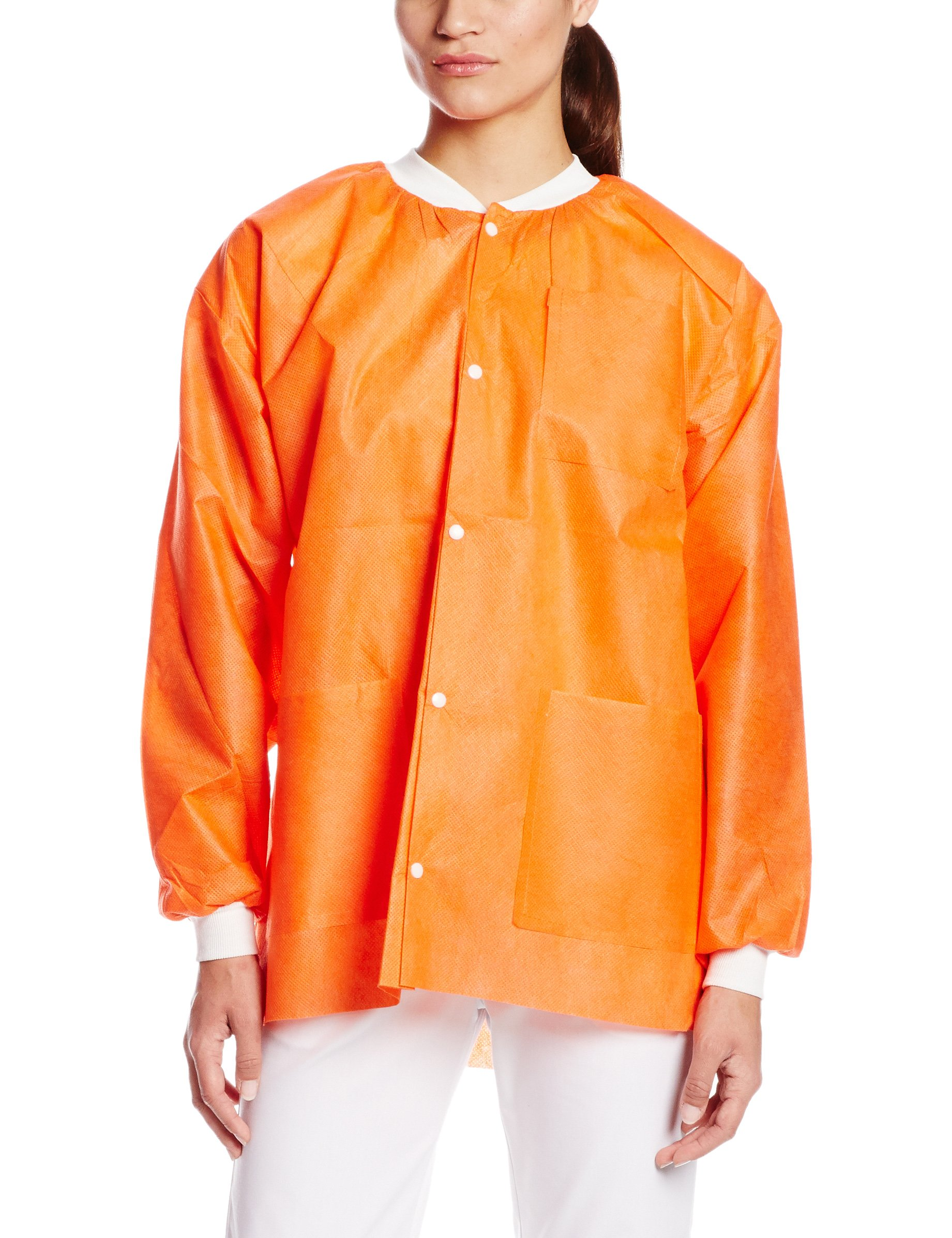 ValuMax 3630ORXL Extra-Safe, Wrinkle-Free, Noble Looking Disposable SMS Hip Length Jacket, Orange, XL, Pack of 10 by Valumax (Image #1)