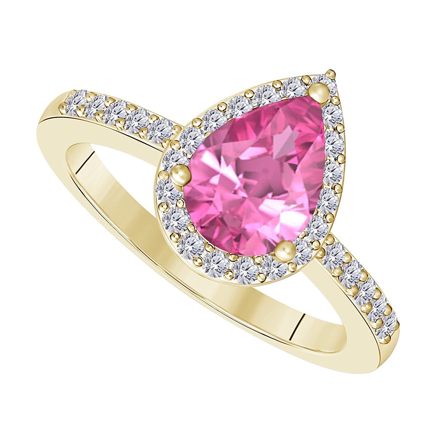 Amazon.com: Women Wedding Ring 3 Carat Pear Shape Lab Created Pink ...