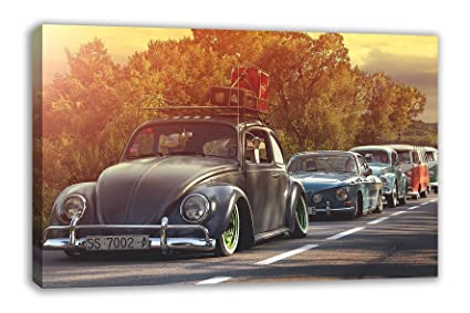 Amazon Com Vintage Vw Beetle Classic Vintage Cars Rustic Canvas