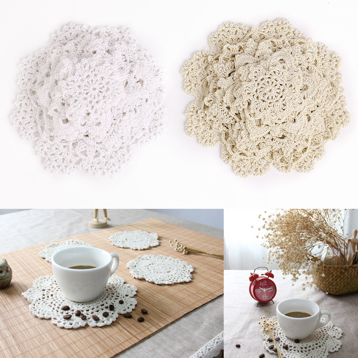 Compra SurePromise One Stop Solution for Sourcing 24 uds Posavasos de Crochet Tejidos de Punto Copo de Nieve Cotton Crochet doilies Home Table en Amazon.es