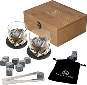 Whiskey Stones Gift Set w/ 8 Granite Chilling Whiskey Rocks, 2 Crystal Glasses & Velvet Bag by EMcollection|Packed in Elegant Wooden Box (Special Edition, Brown)